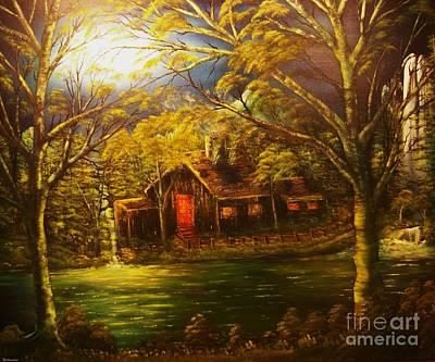 Norwegian Waterfall Painting - Norwegian Evening Glow- Original Sold - Buy Giclee Print Nr 31 Of Limited Edition Of 40 Prints  by Eddie Michael Beck