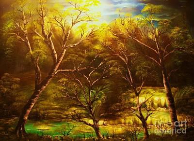 Norwegian Waterfall Painting - Norwegian Night-original Sold- Buy Giclee Print Nr 36 Of Limited Edition Of 40 Prints  by Eddie Michael Beck