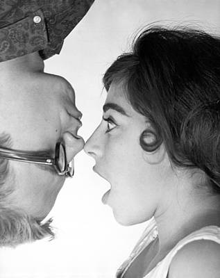 Shock Photograph - Nose To Nose by Underwood Archives