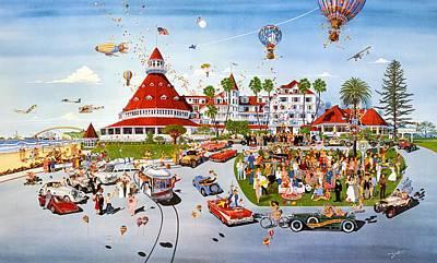 Hotel Del Coronado Painting - Nostalgia Hotel Del Coronado by John YATO