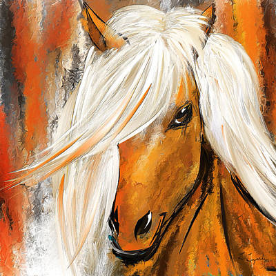 Not Your Ordinary- Colorful Horse- White And Brown Paintings Print by Lourry Legarde