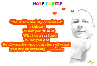 Personal-development Mixed Media - Note To Self 3 Things by Allan Rufus