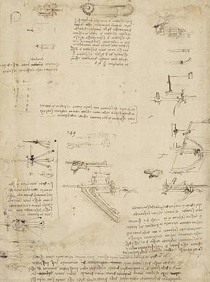 Da Vinci Reproductions Drawing - Notes About Perspective And Sketch Of Devices For Textile Machinery From Atlantic Codex by Leonardo Da Vinci