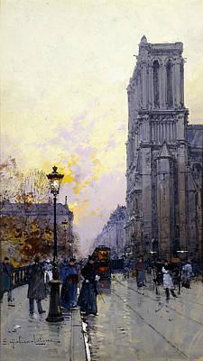 Notre Dame Painting - Notre Dame De Paris by Eugene Galien-Laloue