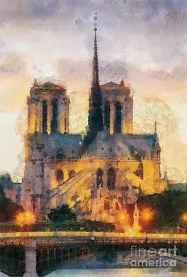 Notre Dame Cathedral Painting - Notre Dame De Paris by Mo T