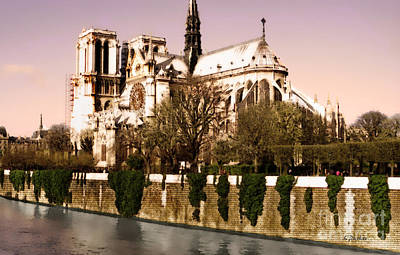 Notre Dame On The Seine Print by Linda  Parker