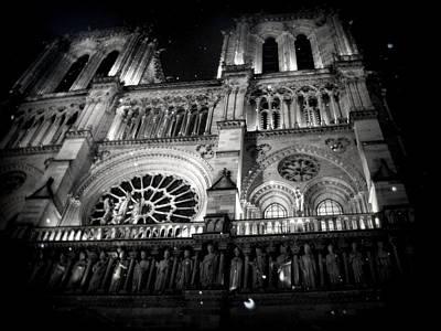 Black Photograph - Notre Dame Paris At Night by Rachel Molano