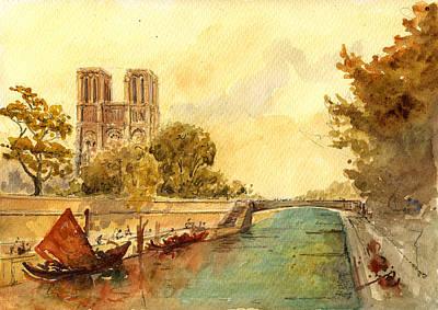 Notre Dame Painting - Notre Dame Paris. by Juan  Bosco