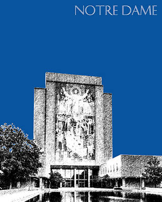 Notre Dame Digital Art - Notre Dame University Skyline Hesburgh Library - Royal Blue by DB Artist