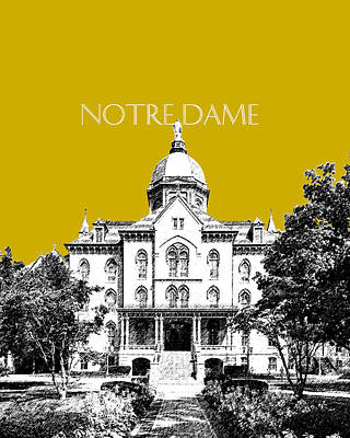 Notre Dame Digital Art - Notre Dame University Skyline Main Building - Gold by DB Artist