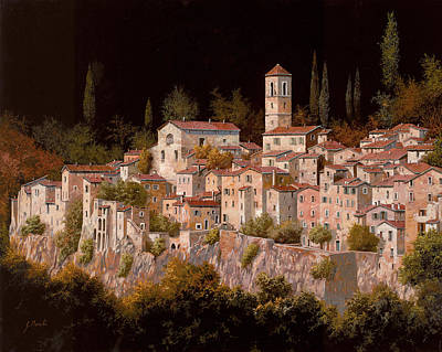 Old Village Painting - Notte Senza Luna by Guido Borelli