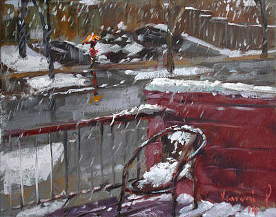 First Snowfall Nov 17 2014 Print by Ylli Haruni