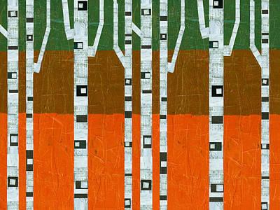 November Birches Print by Michelle Calkins