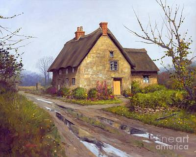 November Cottage 24 X 30 - Sold Print by Michael Swanson