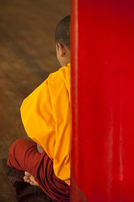 Novice Monk Studying In Kan Gyi Kyaung Monastery Print by Ruben Vicente