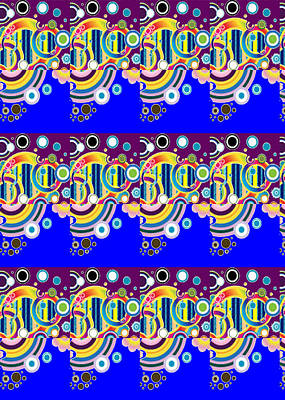 Novino Signature Pattern Art Blue Sparkle Theme   Navinjoshi  Download Rights Managed Images For All Print by Navin Joshi