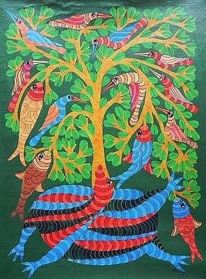 Gond Tribal Art Painting - Npt 55 by Narmada Prasad Tekam