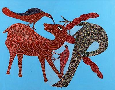 Gond Tribal Art Painting - Ns 14 by Nankusia Shyam