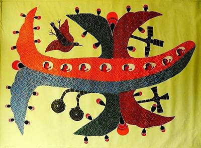 Gond Tribal Art Painting - Ns 28 by Nankusia Shyam