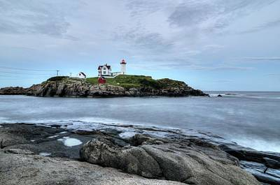 Atlantic Ocean Photograph - Nubble Light After Sunset by Donna Doherty