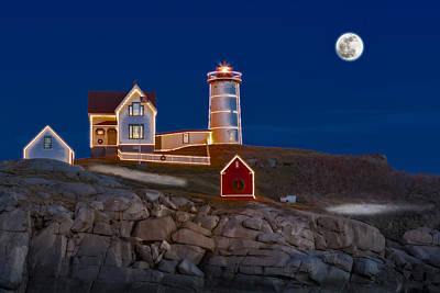 Nubble Light Cape Neddick Lighthouse Print by Susan Candelario