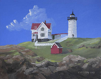 Cape Neddick Painting - Nubble Lighthouse by Jerry McElroy