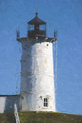 Nubble Lighthouse Maine Painterly Effect Print by Carol Leigh