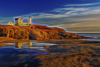 Nubble Lighthouse Neon Glow Print by Susan Candelario