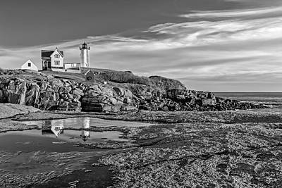 Nubble Lighthouse Reflections Bw Print by Susan Candelario