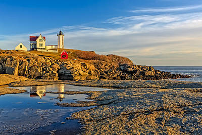 Nubble Lighthouse Reflections Print by Susan Candelario