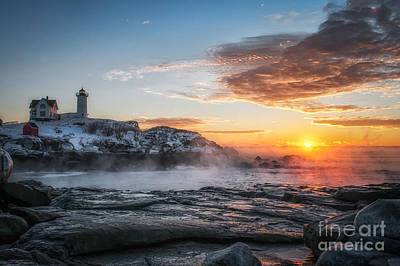 Nubble Lighthouse Sea Smoke Sunrise Print by Scott Thorp