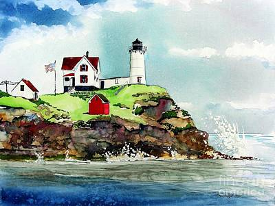 Nubble Lighthouse Print by Tom Riggs
