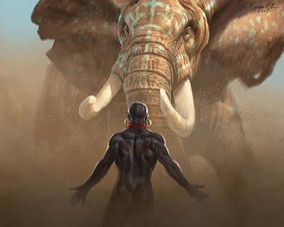 Elephants Digital Art - Nubian Warriors by Aaron Blaise