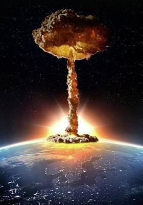 Nuclear Bomb Explosion Print by Andrzej Wojcicki