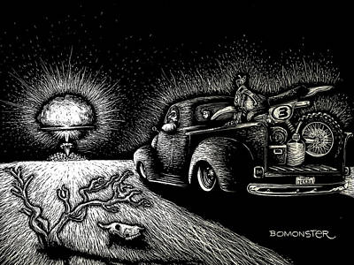 Scratchboard Drawing - Nuclear Truck by Bomonster