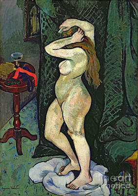 Dressing Painting - Nude Arranging Her Hair by Marie Clementine Valadon