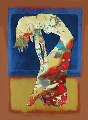 Stylized Mixed Media - Nude Dancing Pop Stylised Art Poster by Kim Wang