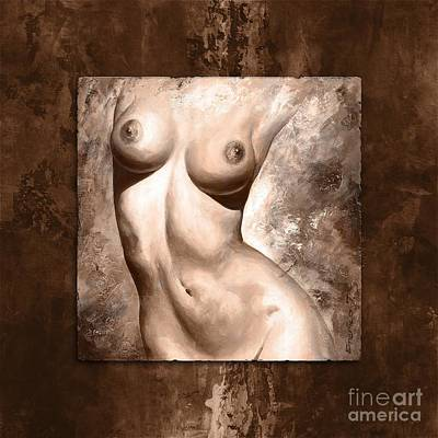 Nude Details - Digital Color Version Frame Brown Print by Emerico Imre Toth