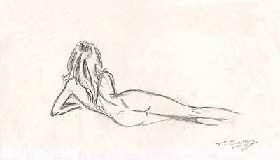 Young Girl Nude Drawing - Nude Figure Drawing by Tom Conway