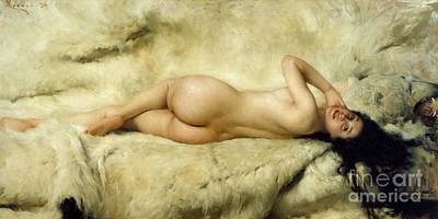 Long Hair Painting - Nude by Giacomo Grosso
