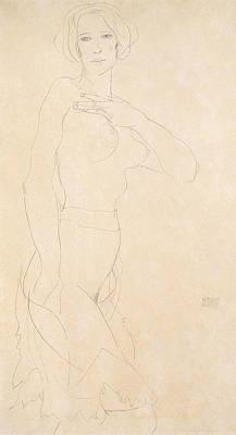 Schiele Drawing - Nude Girl by Egon Schiele