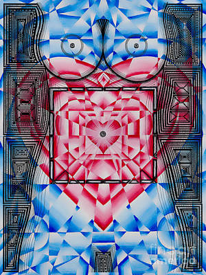 Visionary Art Drawing - Nude Heart And Sky by Joseph J Stevens