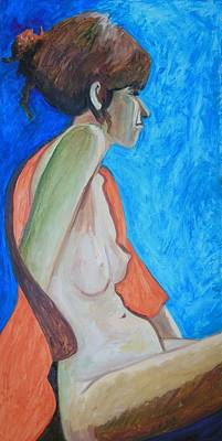 Nude In Blue And Orange Print by Esther Newman-Cohen