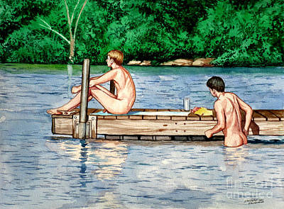 Nude Male Bathers On The Dock Print by Christopher Shellhammer