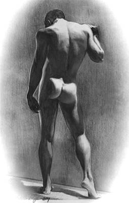 Nude Man In Contemplation Drawing Print by Karon Melillo DeVega