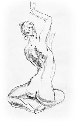 Abstract Forms Drawing - Nude Model Gesture V by Irina Sztukowski