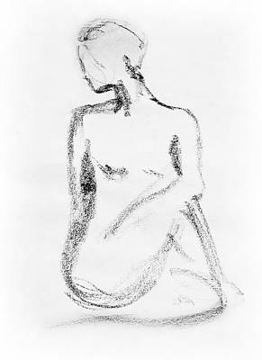 Moving Drawing - Nude Model Gesture Vi by Irina Sztukowski