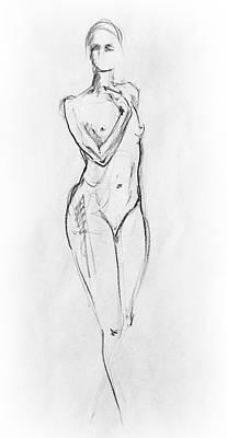Abstract Forms Drawing - Nude Model Gesture Viii by Irina Sztukowski