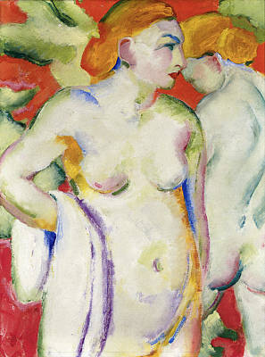 Nude Photograph - Nude On Cinabar by Franz Marc