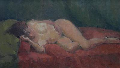 Freud Painting - Nude On Red And Green by Pat Maclaurin